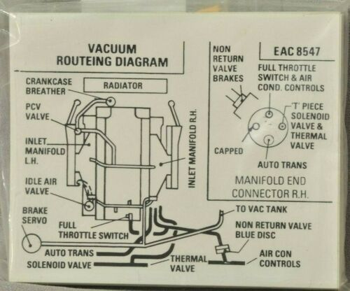 Jaguar Vacuum Routing Diagram Sticker EAC-8547 V12 NEW Genuine Jaguar