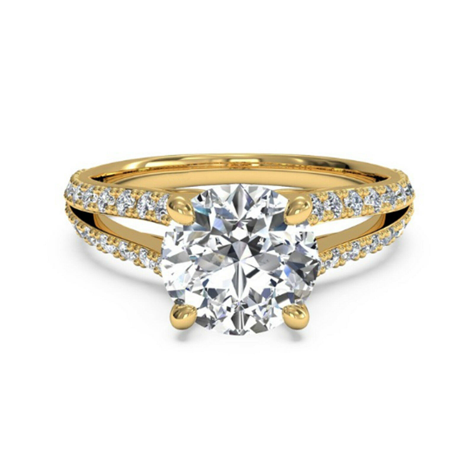 Lab Created 1.05 Ct Diamond Solitaire Ring Round Cut 14K Yellow gold  8