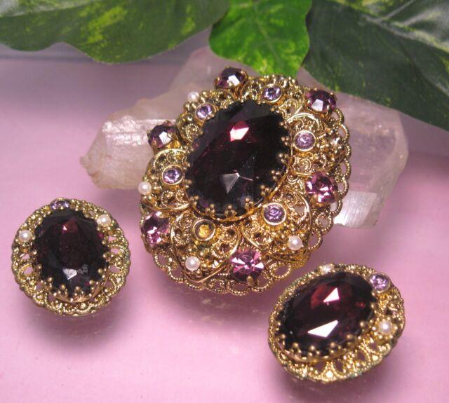 Vintage W. GERMANY RHINESTONE SEED PEARL Brooch Clip Earrings Set