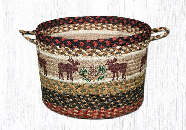 MOOSE & PINE 100% Natural Braided Jute Utility Basket, 13  x 9 , by Earth Rugs