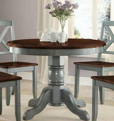 Farmhouse Dining Table Round French Country Kitchen Rustic Dinning Blue  Green | eBay
