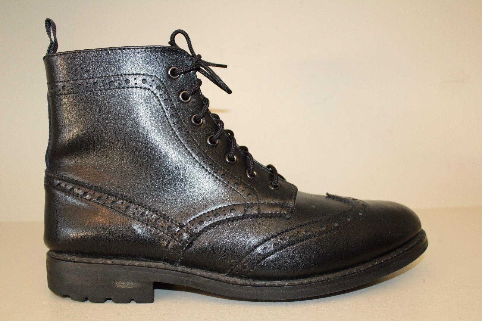 Joseph Abboud Mens Black Leather Wingtip Chukka Ankle Boots Lace Up Shoe Sz 12