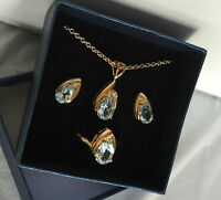 Qvc Gold Plated Pendant Ring Earrings Set 14k Blue Topaz 18 Chain Ring Size 7