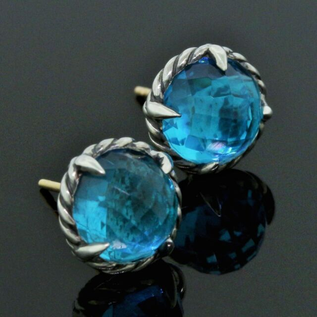 David Yurman Chatelaine 925 Sterling Silver 8MM Blue Topaz Cable Stud Earrings