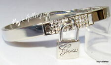 GUESS ??? Jeans Rhinestones Bangle  Bracelet Silver Tone Charms Lock NWT