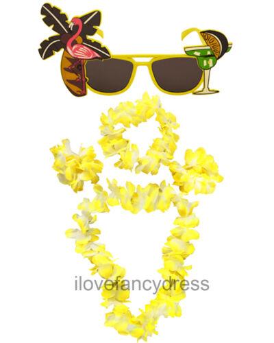 5 PIECE HAWAIIAN KIT SUNGLASSES FLOWER NECKLACE HEADBAND BRACELETS FANCY DRESS