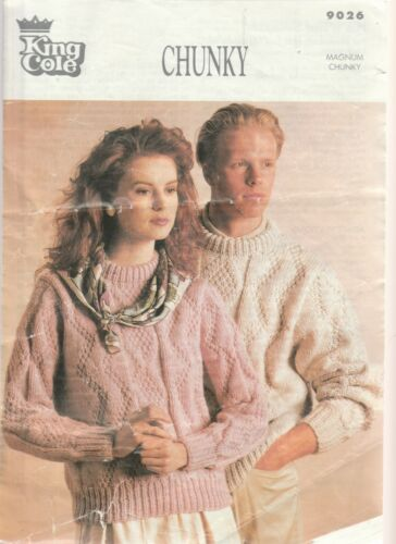 """ORIGINAL KING COLE 9026 KNITTING Patterns  LADIES JUMPER SIZE 30/""""//44/"""" in CHUNKY"""