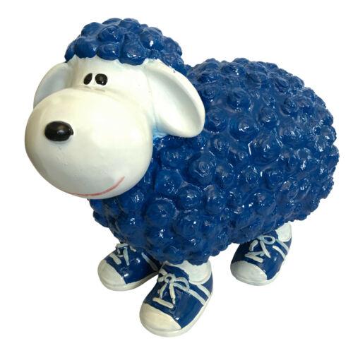 Gartendeko Tierfigur groß Tiere Gartenfiguren Schaf blau weiß in Turnschuhen