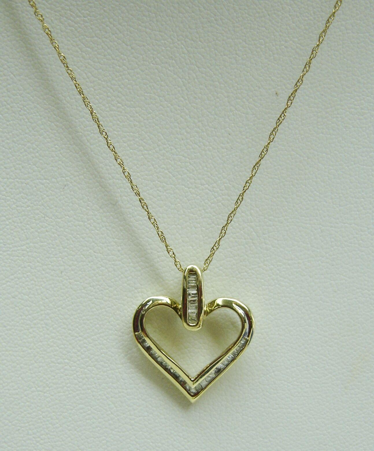 MY HEART FOREVER 10K Yellow gold 18 3 4  Chain W Baguette Diamond Pendant N273-Q
