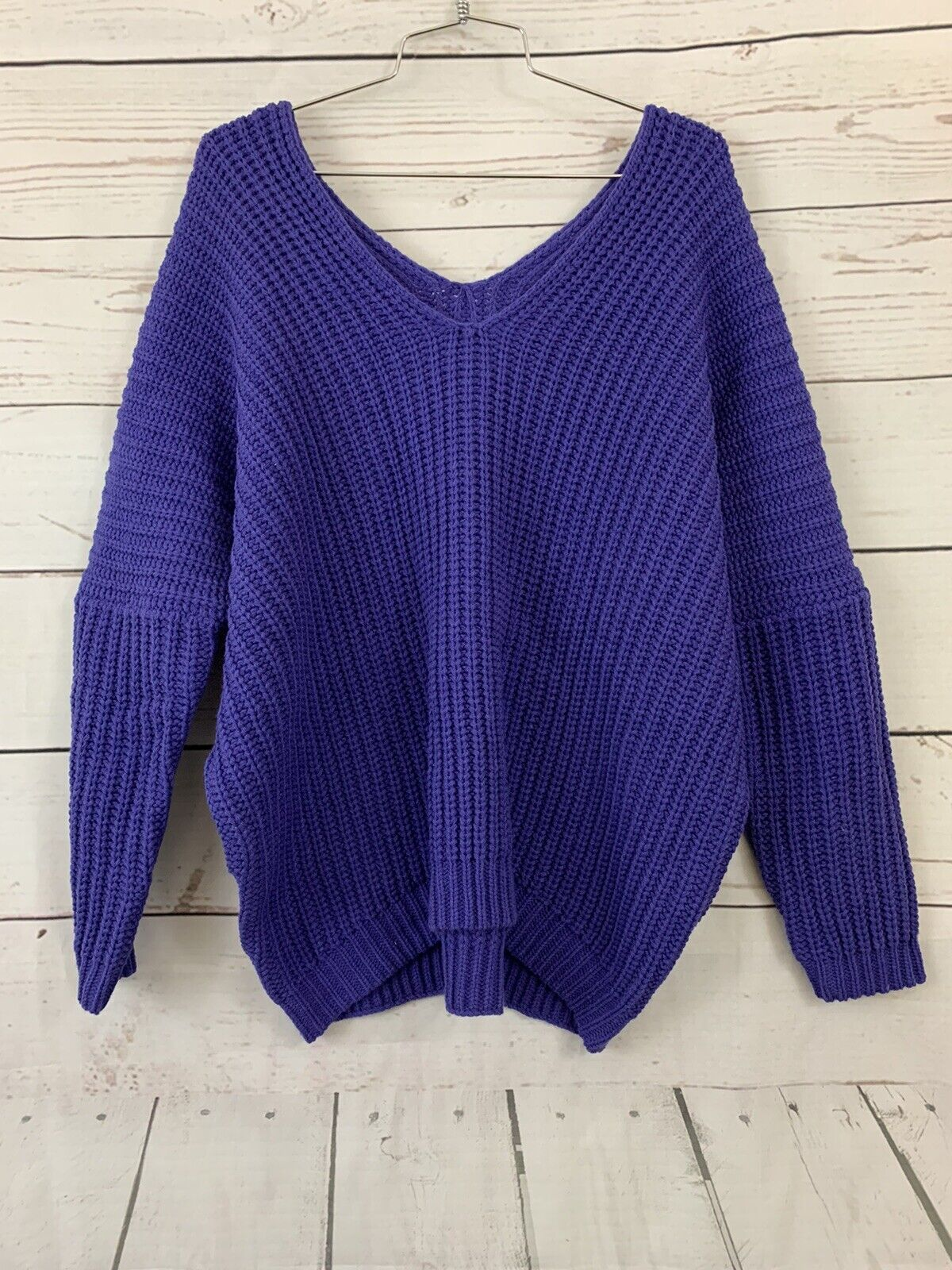 Vintage Strap Up Knitted Top Purple Striped Sweater Top Small