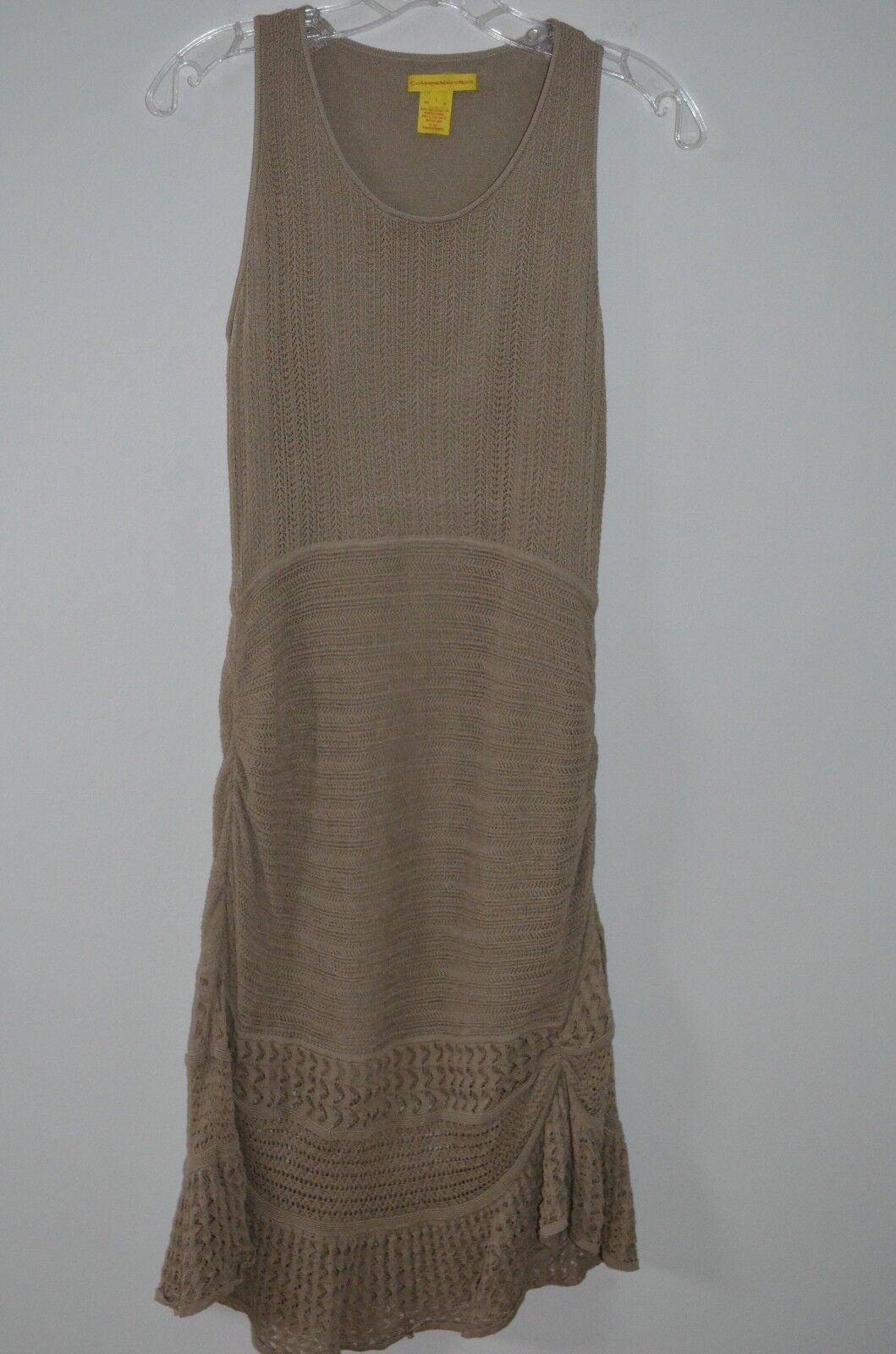 Catherine Malandrino Beige Crocheted 63% Viscose Sleeveless Ruched Dress Size L