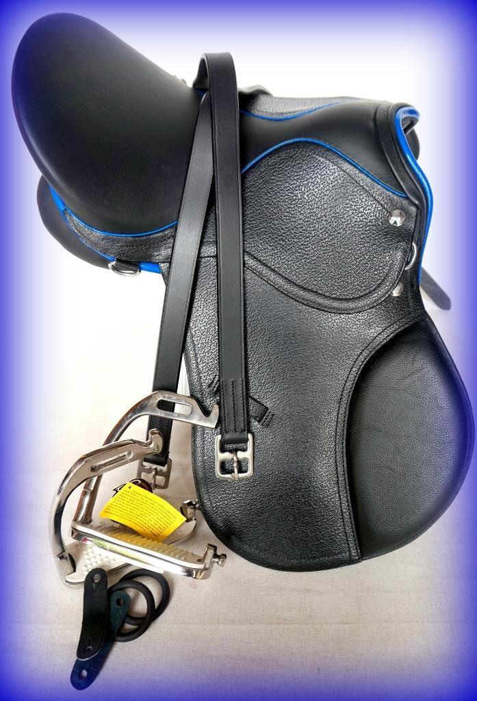 14   15   black R blue Orlo Mini Pony Inglese Sella Caccia Salto A.P Lthrs 48  +