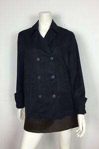 Armani-jeans-impermeabile-giacca-lunga-vintage-usato-donna-blu-luxury-T3540