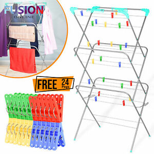 Clothes-Airer-3-Tier-Dryer-Indoor-Outdoor-Drying-Horse-Rack-Winged-Laundry-Fold