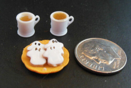 Dollhouse Miniature Halloween Handcrafted plate ghost cookies w//2 filled mugs