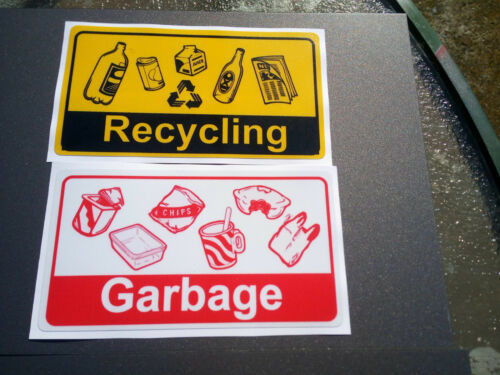 Garbage /& Recycling Laminated Stickers Pack 5 170x95mm  Offer /& Fast Delivery