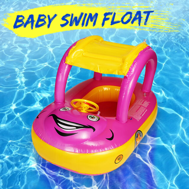Baby Kids Sunshade Inflatable Float Boat Seat Swimming Pool Beach Water Fun Toys