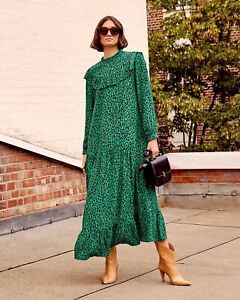 Topshop-Animal-Pintuck-Smock-Maxi-Dress-Green-UK10-EU38-US6