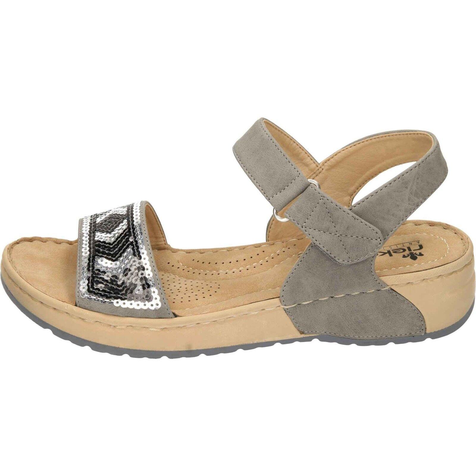Rieker Wedge Heel Platform V5778-42 Open Toe Sandals Grey V5778-42 Platform Antistress Comfort 591907