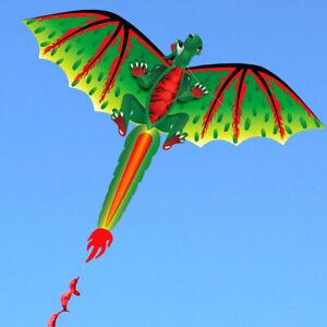 New-3D-Single-Line-Green-Dragon-Kites-Outdoor-Fun-Sports-Beach-Single-Line-Kite