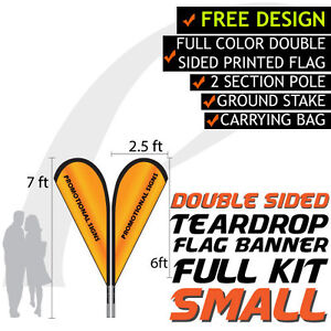 Details about 7FT Full Color Teardrop Style Double Sided Custom Flag  Banners w/Hardware