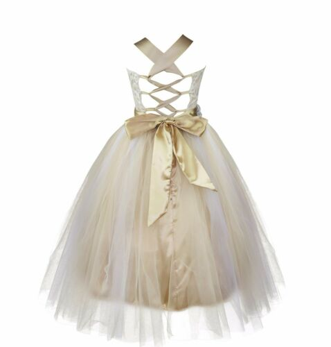 Flower Girl Dress Kids Pageant Wedding Bridesmaid Sequins Formal Tutu Dresses UK