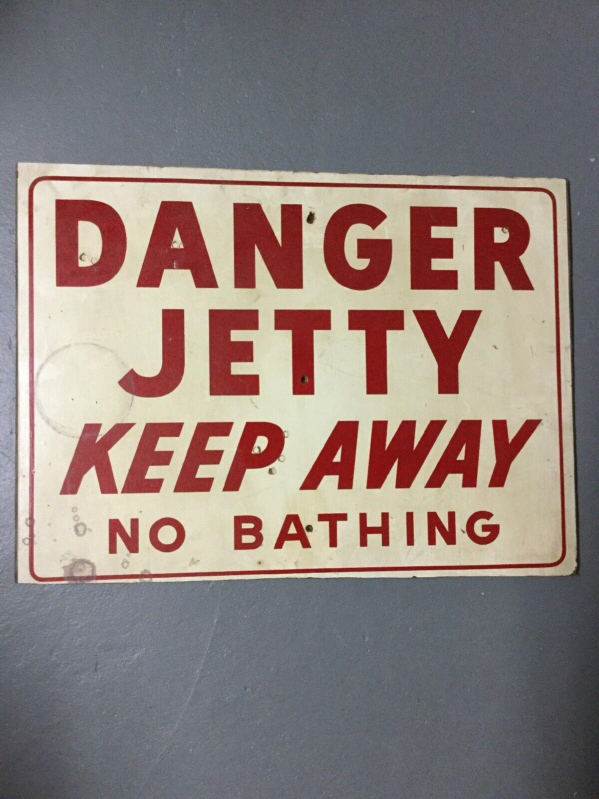Vintage Original Wood DANGER JETTY KEEP AWAY NO BATHING New Jersey Beach Sign