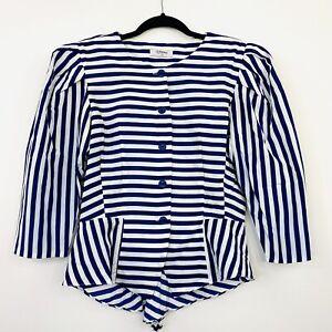Vintage-80s-Womens-Jacket-Top-Stripe-Blue-White-Shoulder-Pads-Power-Suit-Size-14