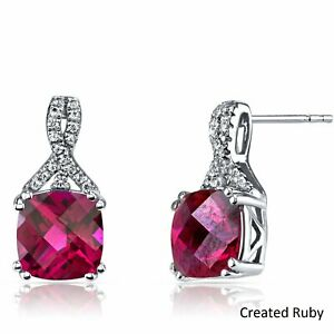 Round-5mm-Created-Red-Ruby-14k-White-Gold-Plated-Earrings-With-Gift-Box
