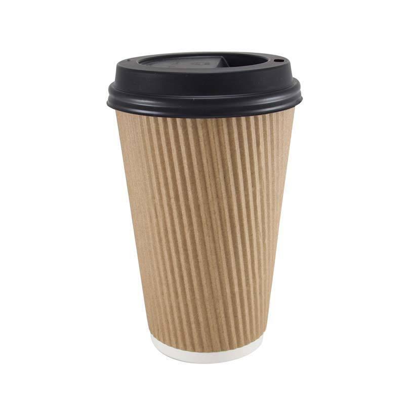 1000 X 16oz papel marrón tazas de café Kraft Ondulación 3 capas + Tapas Negro