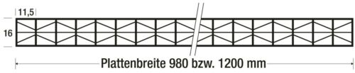 Polycarbonat Stegplatten16 mmGlasklarExtra starkMuster