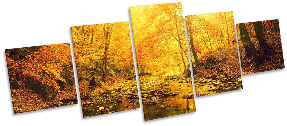 Sunset Forest River Landscape CANVAS WALL ART Five Panel Print Picture