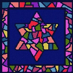 Image Is Loading Tefillin Stained Glass Needlepoint Kit Or Canvas Jewish