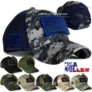 e0527cccf Details about USA American Flag Trucker Hat Baseball MeshBack Cap Tactical  Military Camouflage