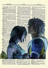 Tidus & Yuna Final Fantasy Dictionary Art Print Poster Picture Game X Character