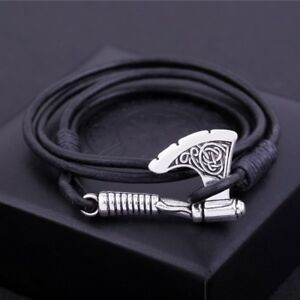 Ax-Wrap-Anchor-Viking-Bracelet-Men-039-s-Leather-Slavonic-Perun-Bangle-Bracelets