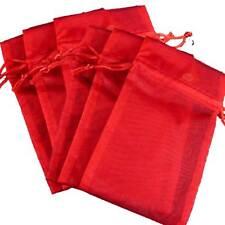 6 Pakdecorative Organza Gift Jewelry Pouches Red