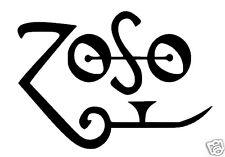 "Zoso Led Zeppelin/Jimmy Page ispirato adesivo del Logo/Adesivo. 6"" x 4"""