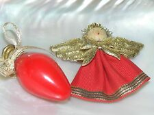 Estate Lot of 2 Holiday Fabric with Wood Head Angel & Red Christmas Light Bulb