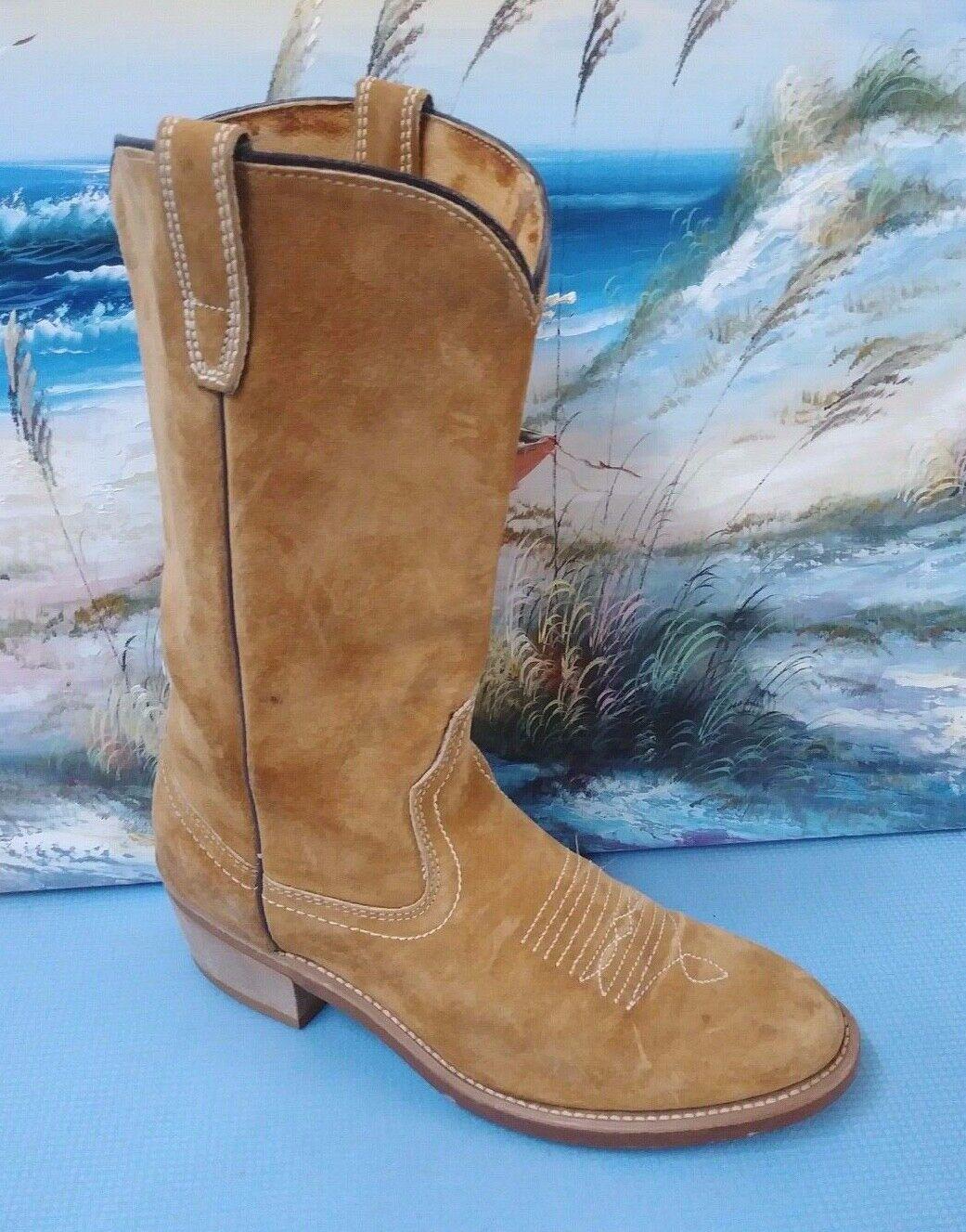 Vintage para hombres Cuero Gamuza Marrón botas De Vaquero Tamaño 7.5 D