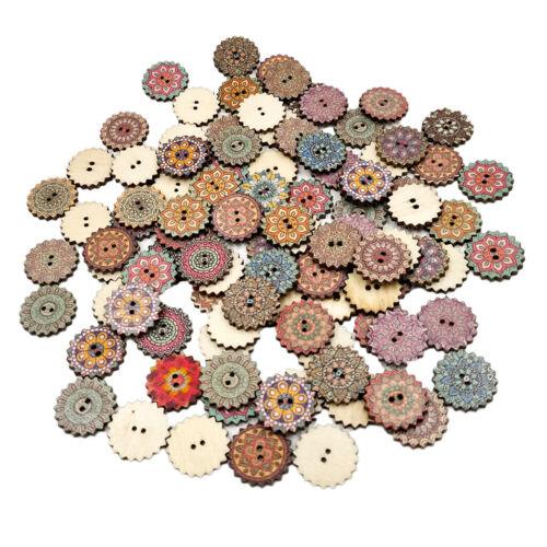 100 Stück Holzknöpfe Knöpfe Set Nähen Dekoknöpfe 2 Loch zum