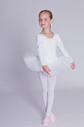 "tanzmuster Kinder Langarm Ballett Tutu /""Alea/"" weiß Ballettkleid Ballett Trikot"