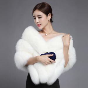 Vintage-Bridal-Wedding-White-Fox-Fur-Shawl-Wrap-Stole-Poncho-Bridal-Cape-Custom