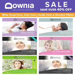 Downia-White-Goose-Down-Duck-Down-Double-Down-Microbre-Pillows-Collection-NEW