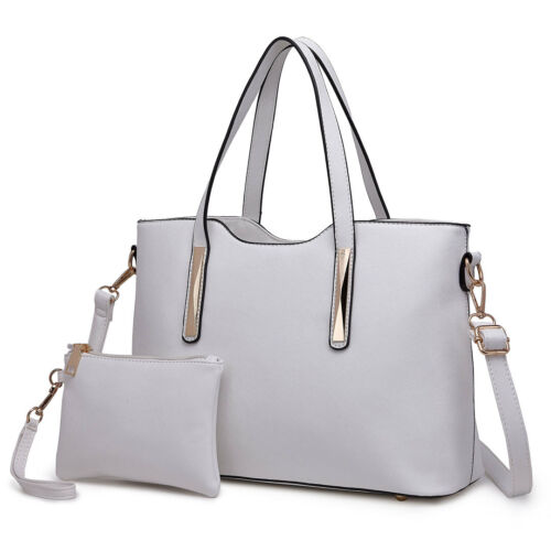 Women Fashion PU Leather 2 pcs Handbag Tote Medium Shoulder Bag Purse