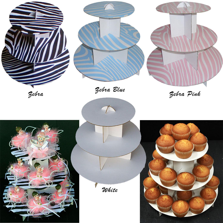 12  Cupcake Stand 3-Tier Cupcake Tree Zebra Party Favor Wedding Baby Shower Lot