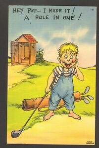 Unused-Postcard-Comic-Little-Boy-Golfing-Hey-Pop-I-made-a-Hole-in-One-Outhouse