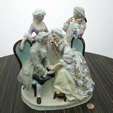 Antique Dresden Large Figure Group Hand Painted Porcelain
