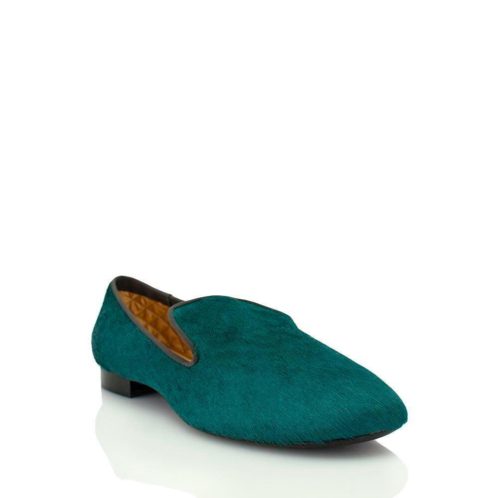 Avec Moderation verde Pony Slip On On On With nero Piping 992b3e