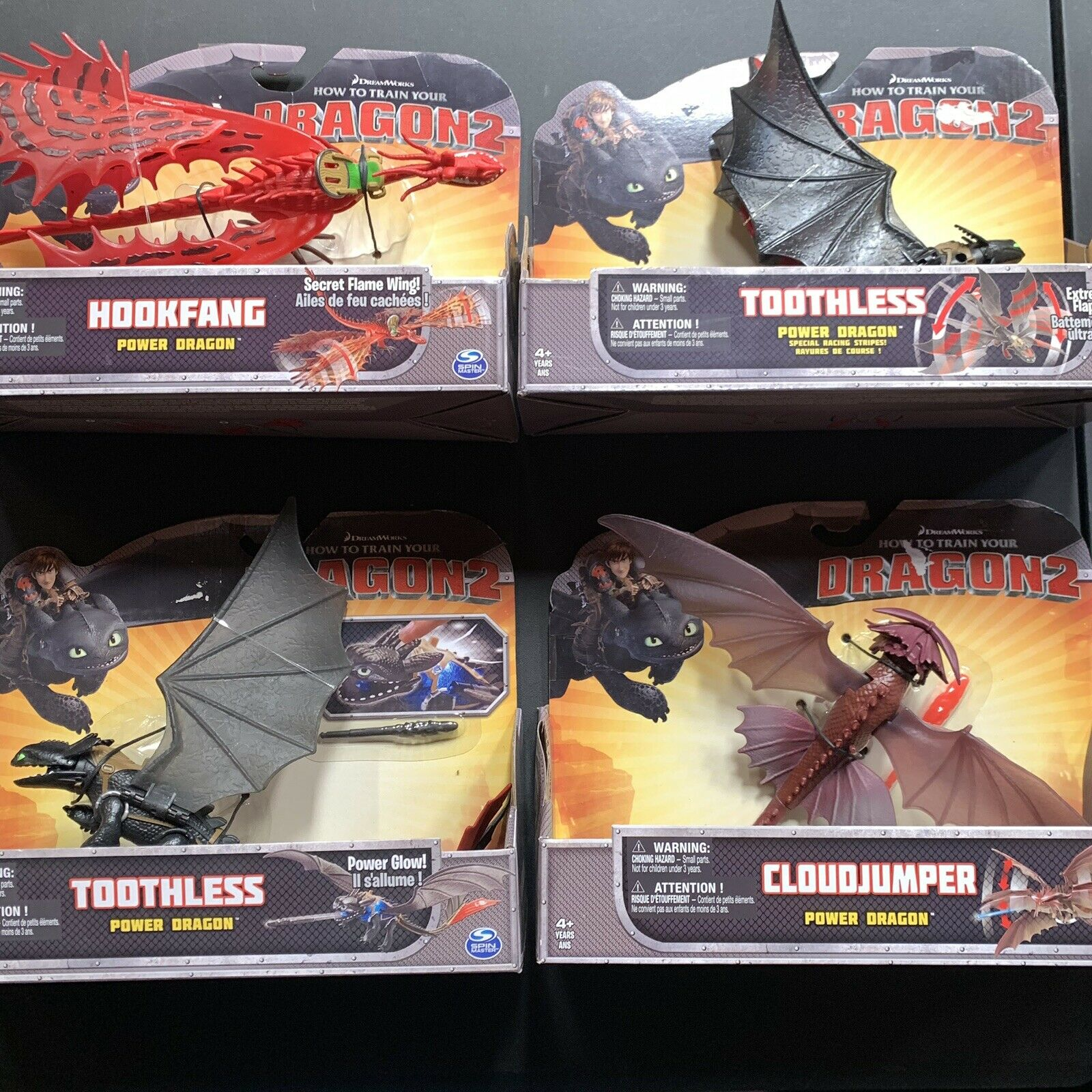 HOW TO TRAIN YOUR DRAGON 2 POWER DRAGONS LARGE ACTION FIGURE LOT OF 4 Toothless